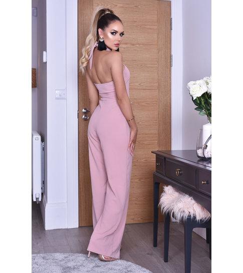CATWALK Katrina Halter Button Jumpsuit - Dames - Roze