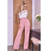 CATWALK Dior One Shoulder Ruched Jumpsuit - Roze