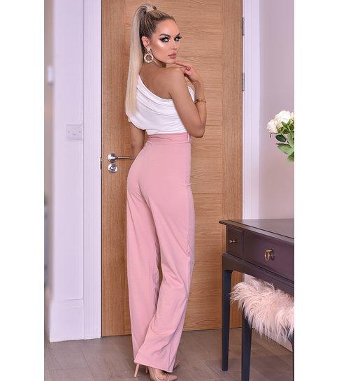 CTW Dior One Shoulder Ruched Jumpsuit - Roze