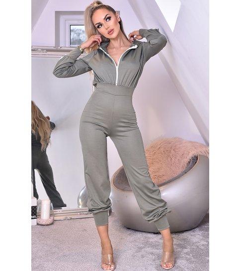 CATWALK Tanya Hooded Loungewear Jumpsuit - Dames - Groen