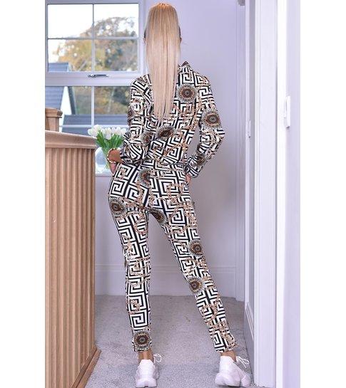 CATWALK Connie Chain Print Two Piece Loungewear Set - Dames - Zwart