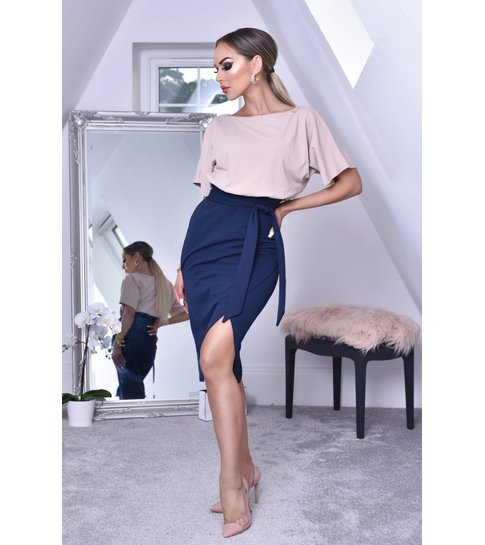 CATWALK Sabrina Contrast Batwing Dress - Dames - Navy