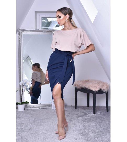 CTW Sabrina Contrast Batwing Dress - Dames - Navy