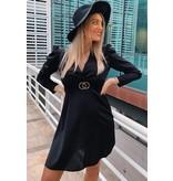 PARISIAN Puffed Sleeve Wrap Front  Mini Dress - Dames  - Zwart