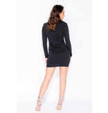 PARISIAN Long Sleeve Zip Front Self Belt Stretch Denim - Dames - Zwart