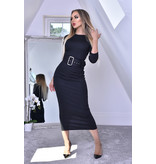 CATWALK Eliana Black Midaxi Dress - Dames - Zwart