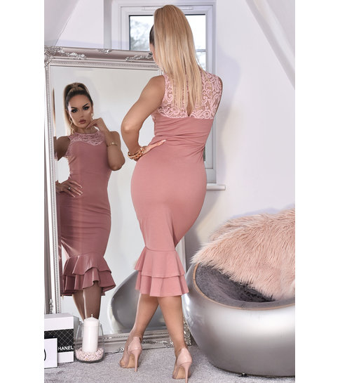 CATWALK Miranda Lace Fishtail Dress - Dames - Roze