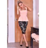 CTW Pamela Contrast Lace Peplum Dress - Dames - Roze