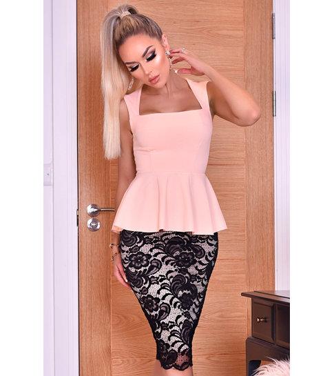 CATWALK Pamela Contrast Lace Peplum Dress - Dames - Roze