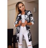 CATWALK Audrey Floral Longline Jacket - Dames - Zwart