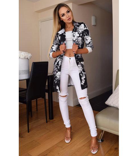 CTW Audrey Floral Longline Jacket - Dames - Zwart