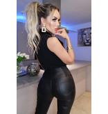 CATWALK Carmel PU Collared Bodysuit - Dames - Zwart