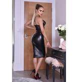 CATWALK Kellie PU Midi Skirt - Dames - Zwart