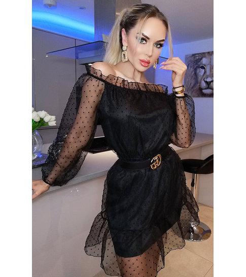 CATWALK Lilly Polka Dot Bardot Dress - Dames - Zwart