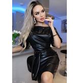 CTW Xandra Leatherette Batwing Belted Dress - Dames - Zwart