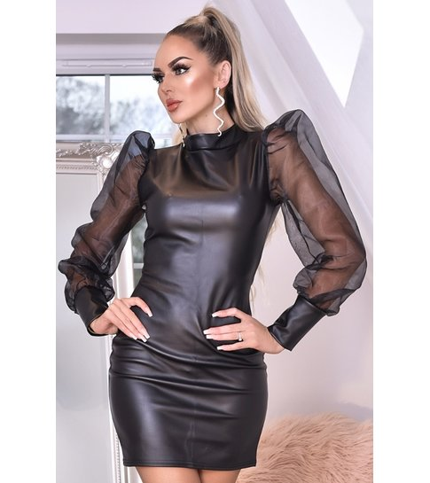 CATWALK Avery Organza Puffed Sleeve Leatherette Dress - Dames - Zwart