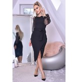 CATWALK Grace Organza Mesh Sleeves Wrap Dress - Dames - Zwart