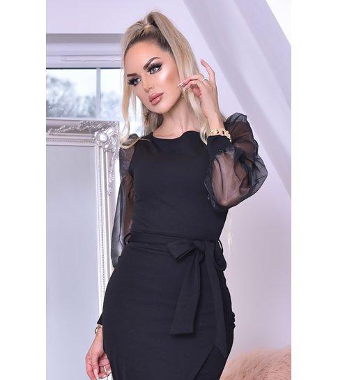 CTW Grace Organza Mesh Sleeves Wrap Dress - Dames - Zwart