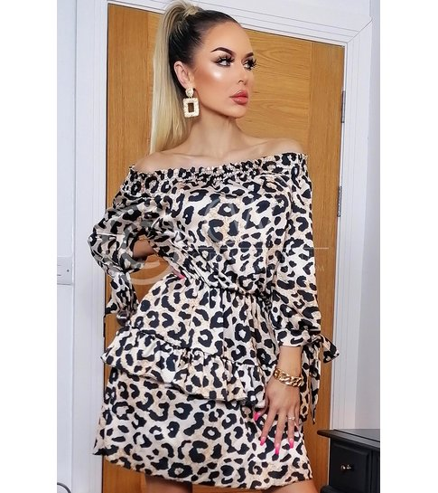 CTW Maggie Animal Bardot Frill Dress - Dames - Bruin