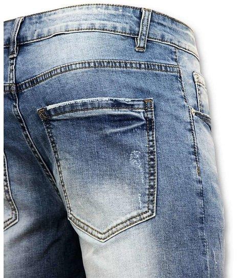 Enos Korte Broek Heren - Gescheurde Jeans Short - 9086 - Blauw