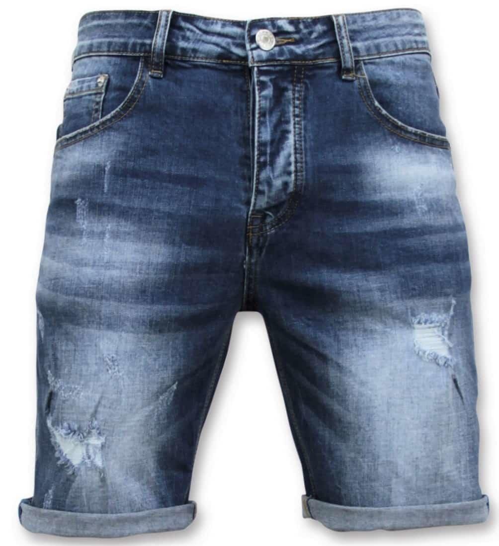 enos korte broek heren gescheurd short 9085 blauw - Korte Broek Met Rits Heren