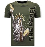 Local Fanatic Heren T-shirt met Rhinestone - The Rebel - Groen