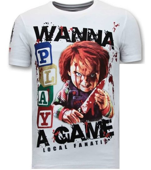Local Fanatic Exclusieve Heren T-shirt  - Chucky Childs Play - Wit
