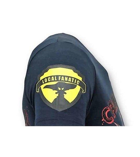 Local Fanatic Exclusieve Heren T-shirt - Crime Empire - Blauw