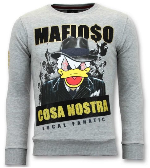 Local Fanatic Exclusieve Sweater Heren - Cosa Nostra Mafioso - Grijs