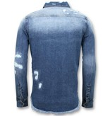 Enos Lange Spijkeroverhemd - Denim Blouse Heren - Blauw