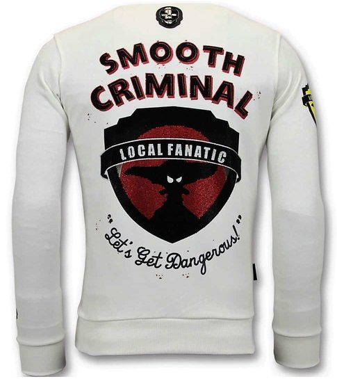 Local Fanatic Luxe Heren Sweater - Crime Empire  - Wit