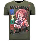 Local Fanatic Stoere Heren T-shirt  - Chucky Childs Play - Groen