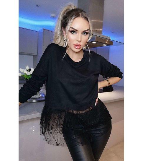 CATWALK Gemma Delicate Tulle Netted Top - Dames - Zwart