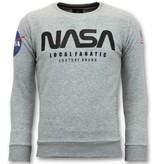 Local Fanatic Exclusieve Sweater Heren - Nasa American Flag - Grijs