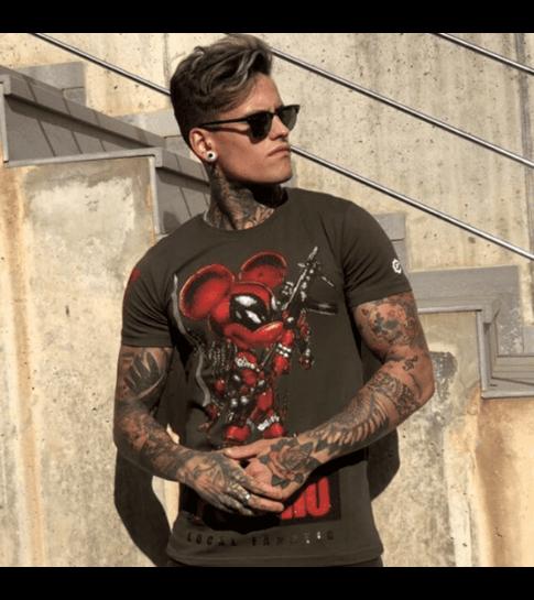 Local Fanatic Psycho Mouse - Party T shirt Mannen - 6321G - Groen