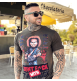 Local Fanatic Stoere T-shirt Mannen - Bloody Chucky Angry Print - Groen