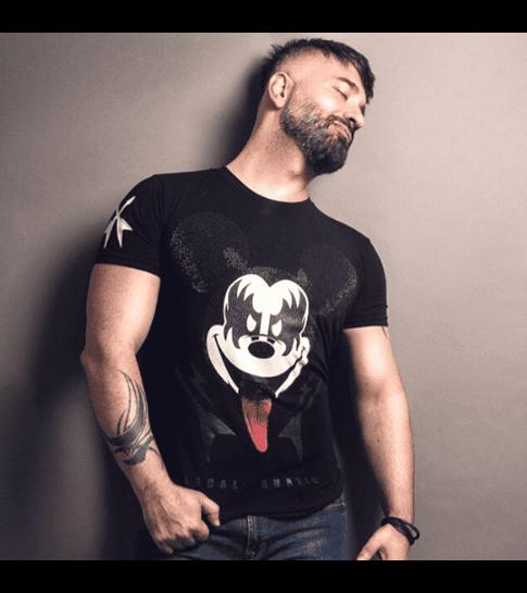 Local Fanatic Kiss My Mickey - Rhinestone T-shirt - Zwart