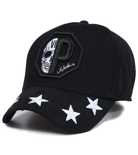 Enos Baseball Cap Heren - Skull Star- Zwart