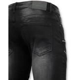 TRUE RISE Luxe Heren Biker Jeans Zip - 3025-2 - Zwart