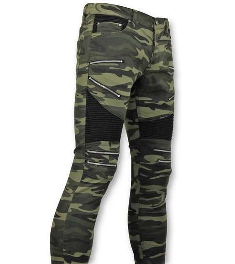 TRUE RISE Luxe  Army Style Heren Biker Jeans Zip - 3025-18 - Groen