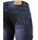 TRUE RISE Heren Biker Jeans Ripped - 3027 - Blauw