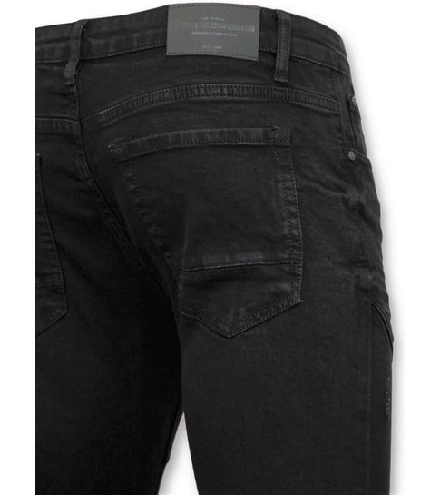 TRUE RISE Exclusieve Heren Biker Jeans Ripped - 3029-2 - Zwart