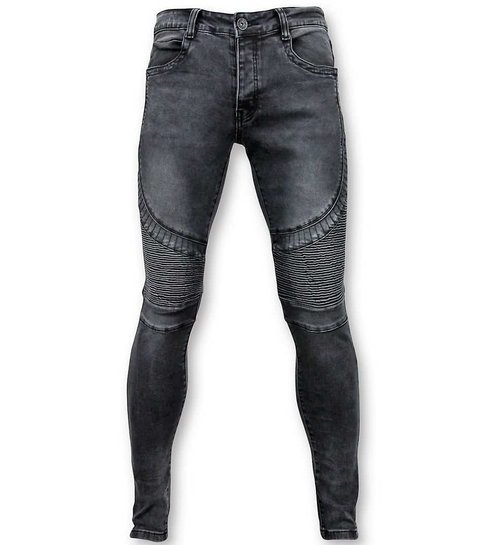 TRUE RISE Basic Biker Jeans Heren - U141-5-Grijs