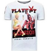 LF Exclusieve Heren T-shirt  - The Playtoy Mansion - Wit