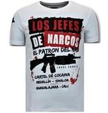 LF Luxe Heren T shirt  - Los Jefes De Narcos - Wit
