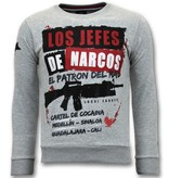LF Exclusieve Sweater Heren - Los Jefes De Narcos - Grijs