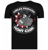 Local Fanatic Fight Club Spike - Rhinestone T-shirt - Zwart