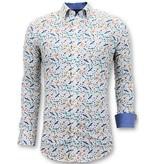 TONY BACKER Luxe Heren Overhemden Digitale Print - 3063 - Wit