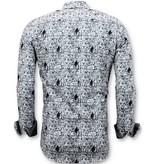 TONY BACKER Luxe Strijkvrije Overhemden Heren -  Digitale Print - 3051 - Wit