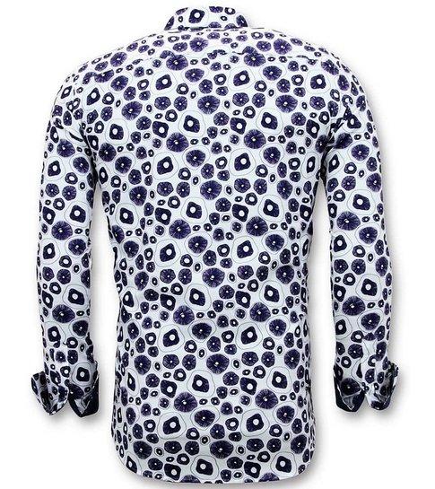 TONY BACKER Luxe Aparte Casual Heren Overhemden - Digitale Print - 3058 - Wit